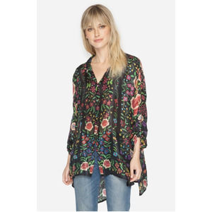 Johnny Was Emby Button Down Silk Blouse Small